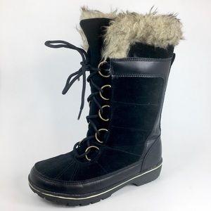 Snow Boot Merona Leather Black Faux Fur Size 6